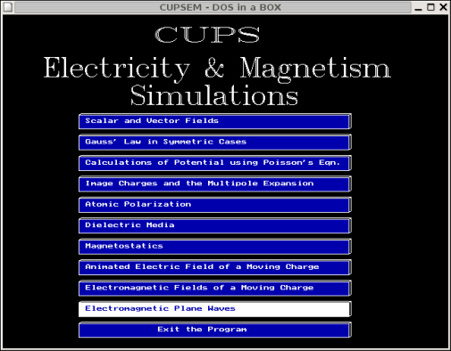Screenshot of CUPSEM